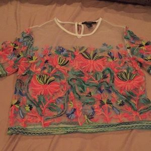 Transparent Floral Embroidered Top
